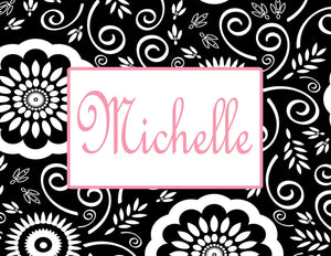 Black floral pattern with name centered folded notecards