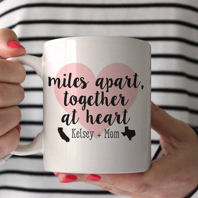 Miles Apart, Together at Heart Personalized Mug, PIPSY.COM