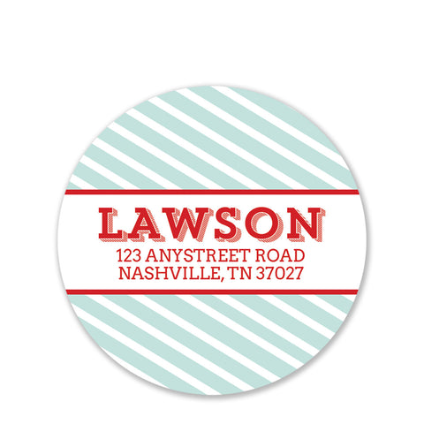Mint Stripe Return Address Stickers