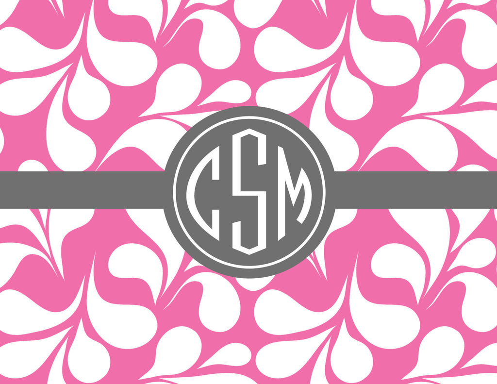 Mod petals with monogram folded notecards