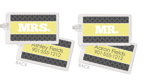 Modern circles in lemon and grey honeymoon bag tags
