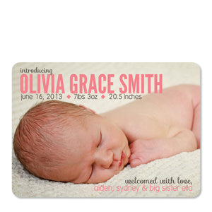 Modern Diamond Birth Announcement Pink