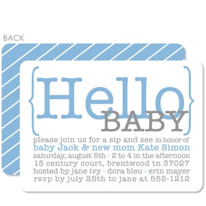 Hello Blue Baby Shower Invitation