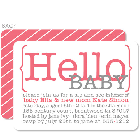 Hello Baby Pink Baby Shower Invitation
