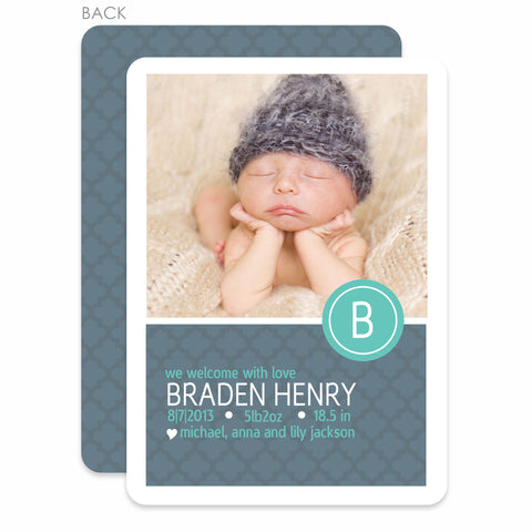 Modern Monogram Boy Birth Announcement