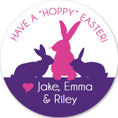 modern silhouette of rabbits in pink and purple round stickers