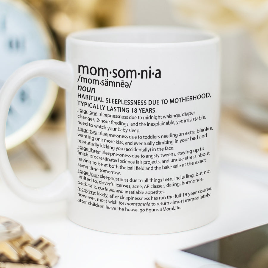 Momsomnia - Sleeplessness due to motherhood mug, PIPSY.COM