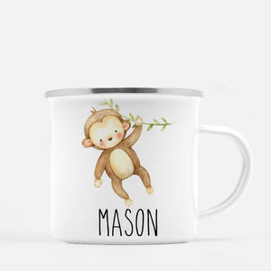 monkey camp mug, personalized with child's name, Pipsy.com