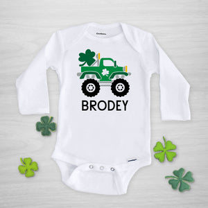 Monster Truck with Shamrocks St. Patricks Day gerber onesie
