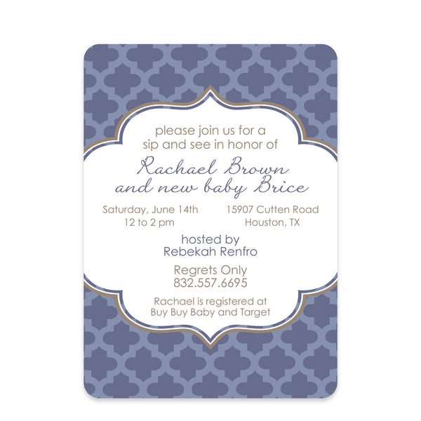 Moroccan Blue Baby Shower Invitation