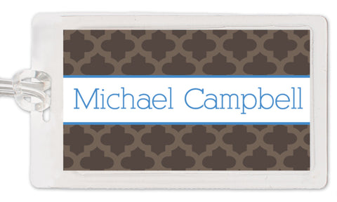Moroccan blue and grey luggage tag