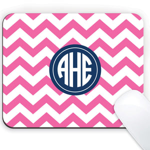 Hot Pink Chevron Mousepad with Monogram