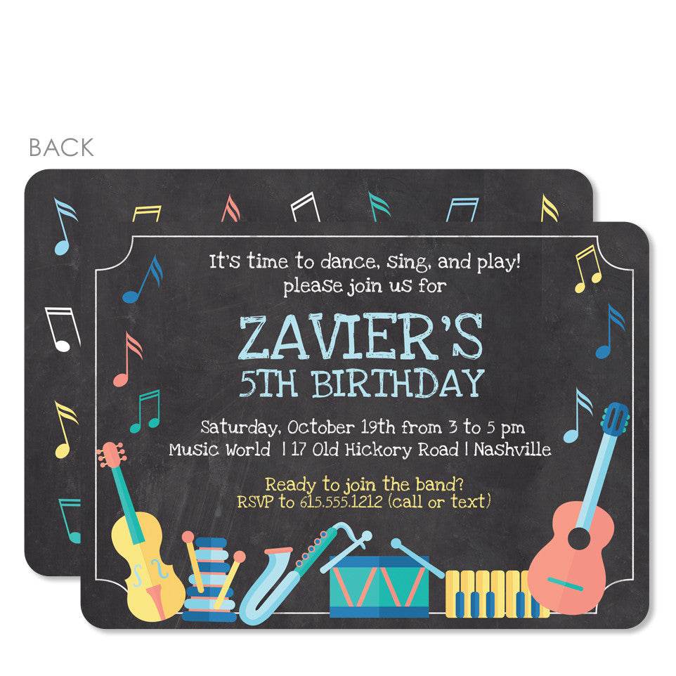 Musical Instruments Party Invitation Printed Pipsy