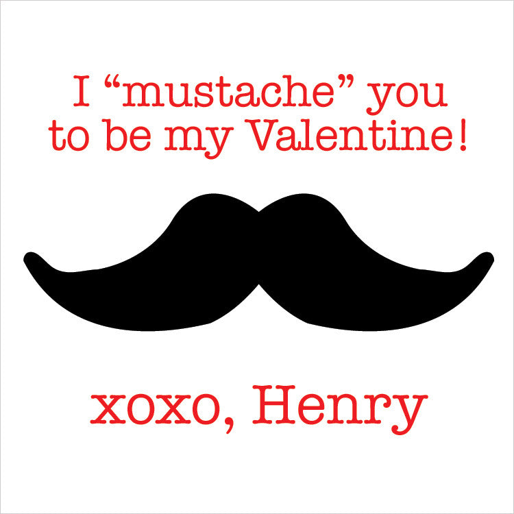 A black mustache with red letters for gift tags for Valentine's day