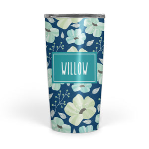 Navy Floral double-walled stainless steel coffee tumbler, PIPSY.COM