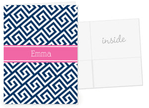 Navy greek key with hot pink name band pocket folder