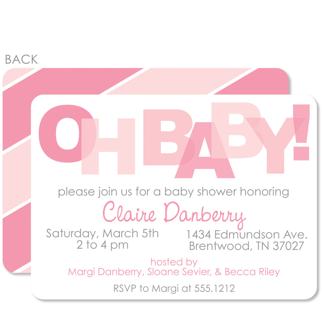 Oh Baby! Pink Baby Shower Invitation – Pipsy