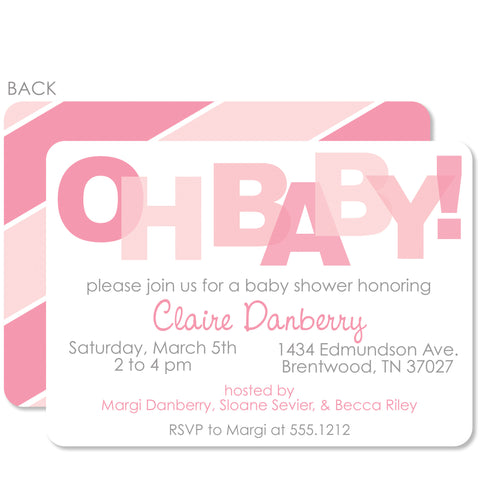 Oh Baby! Pink Baby Shower Invitation