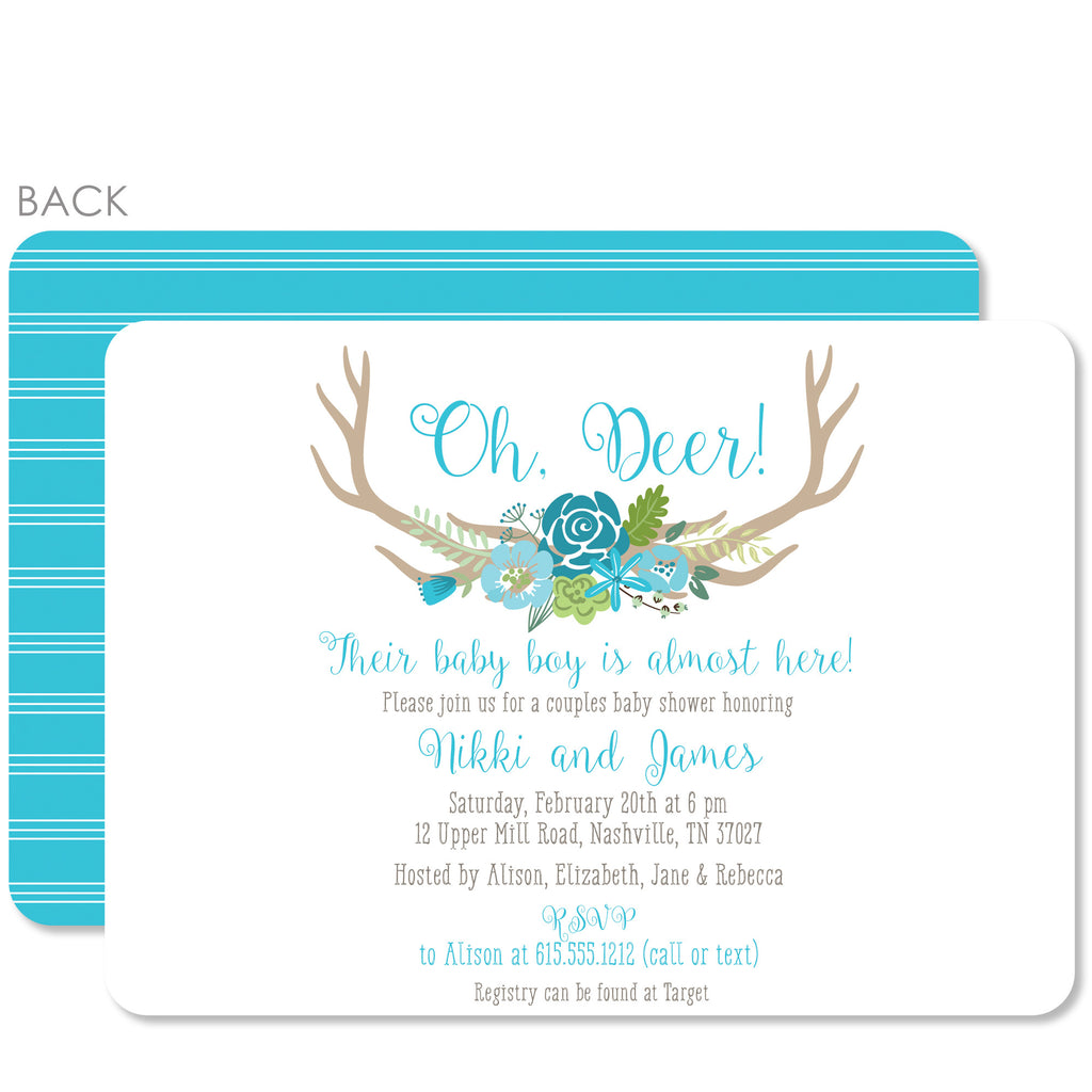 swanky press  oh deer baby boy shower invitation  swanky press, Baby shower