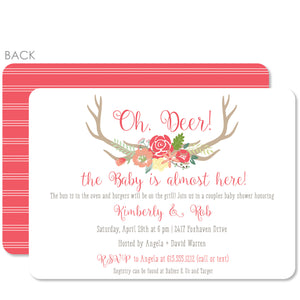 Antler Baby Shower Invitation (Printed)