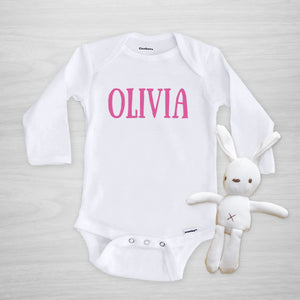 Personalized Name Gerber Onesie for Girl, long sleeved