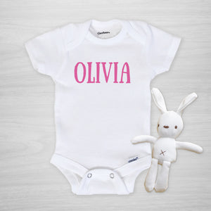 Personalized Name Gerber Onesie for Girl, short sleeved