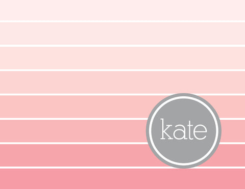 Pink ombre with grey name folded notecards