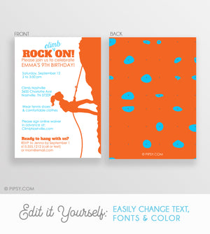 Rock Climbing Girl Invitations Orange (DIY Printable)