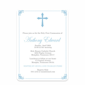 Ornate Frame Baptism/Christening Blue Invitation