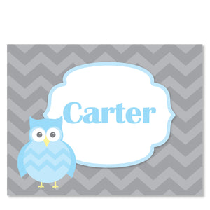 Blue Owl Party Folded Notecard | Swanky Press | Front