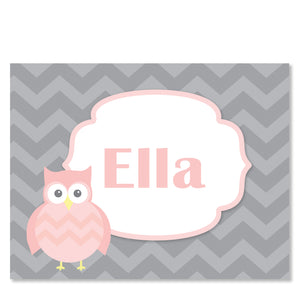 Pink Owl Folded Notecard | Swanky Press | Front