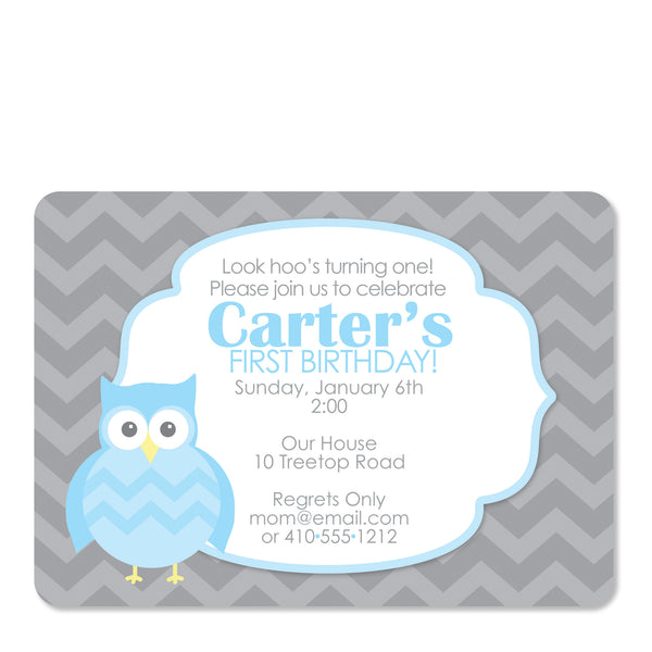 Blue Owl Party Birthday Invitation | Swanky Press | Front