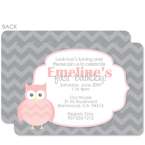 Owl Party Birthday Invitation | Swanky Press | Pink