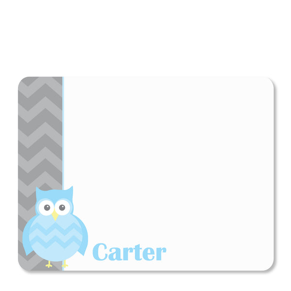 Blue Owl Party Flat Notecard | Swanky Press | Front