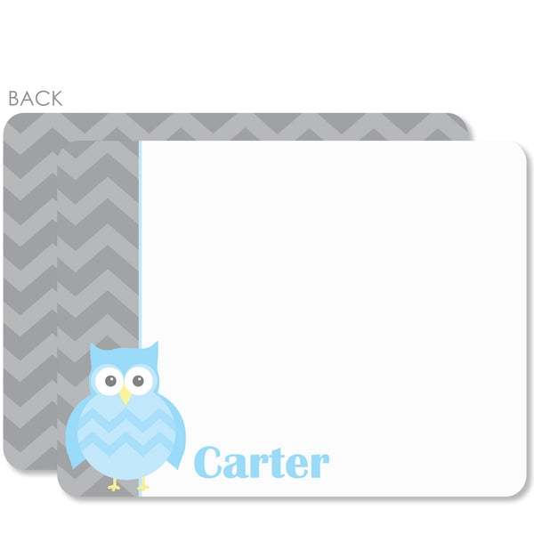 Owl Party Flat Notecard | Swanky Press | Blue