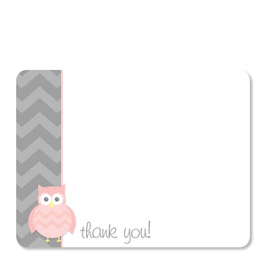 Pink Owl Party Flat Notecard | Swanky Press | Front