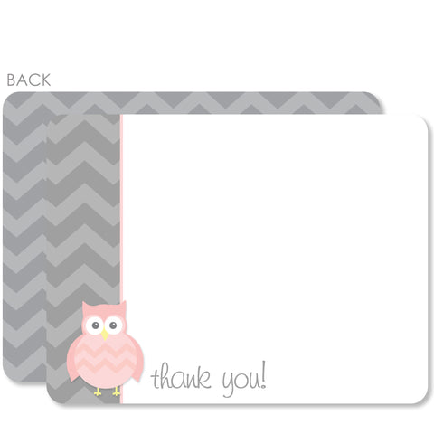 Owl Party Flat Notecard | Swanky Press | Pink