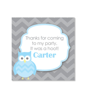 Blue Owl Party Square Favor Sticker | Swanky Press