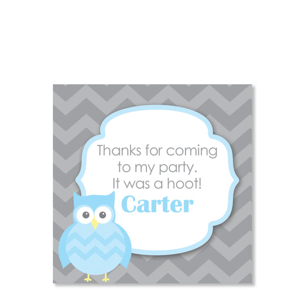 Blue Owl Party Cardstock Favor Tag | Swanky Press | Front