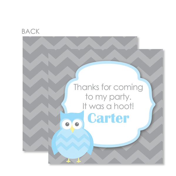 Owl Party Cardstock Favor Tag | Swanky Press | Blue