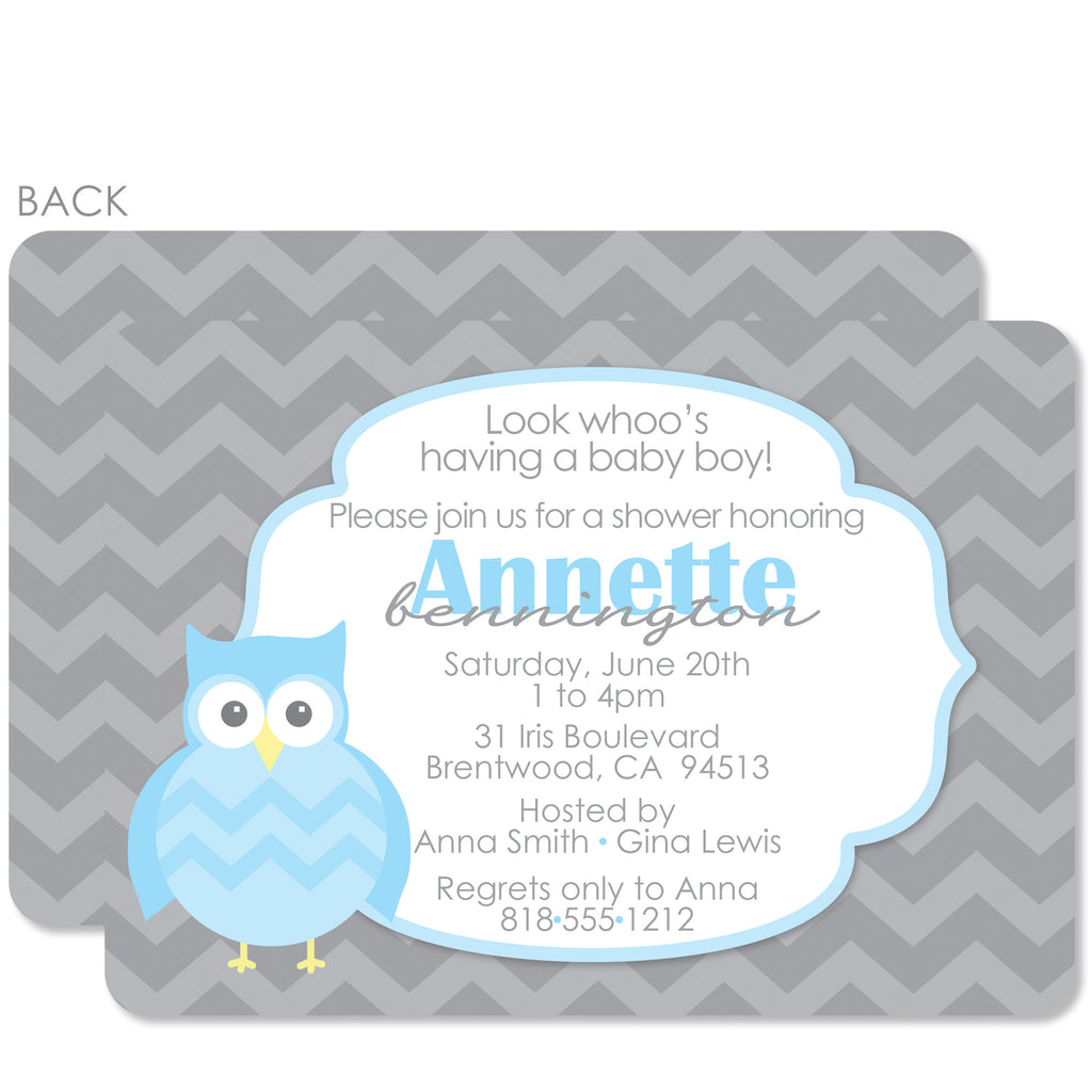 Blue Owl Baby Shower Invitation