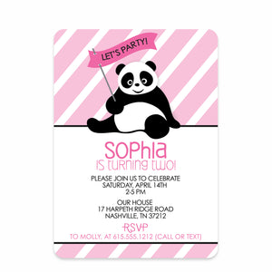 Pink Panda Birthday Invitation | Swanky Press | Front