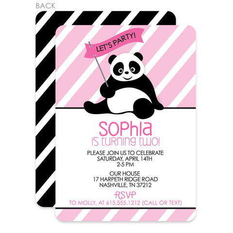 Panda Birthday Invitation | Swanky Press | Pink