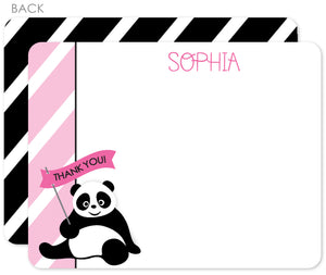 Panda party flat notecards in pink and black with stripes