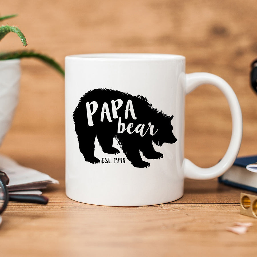 Papa Bear Coffee Mug, Established Date, Pregnancy Announcement Mugs, PIPSY.COM