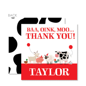 Party Animal Farm Birthday Cardstock Favor Tags | Swanky Press | Red