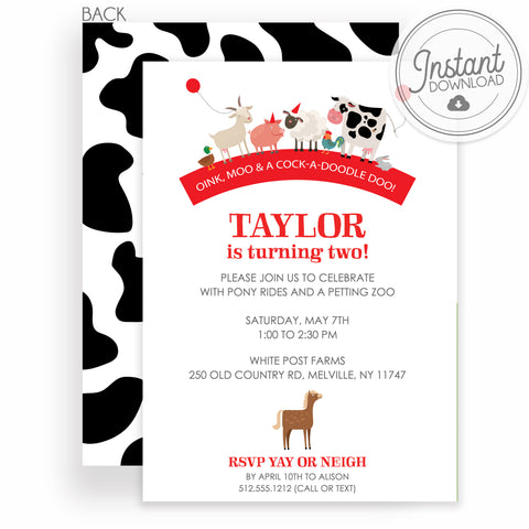 Farm Party Animal Birthday Invitation | DIY Instant Download | Templett Invitation | PIPSY.COM