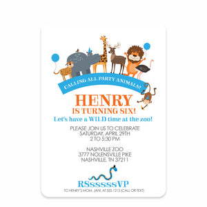 Blue Party Animals Zoo Birthday Invitation | Swanky Press | Front