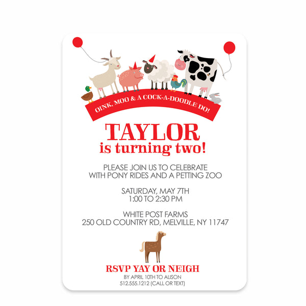 Party Animals Farm Birthday Party Invitation | Swanky Press | Front