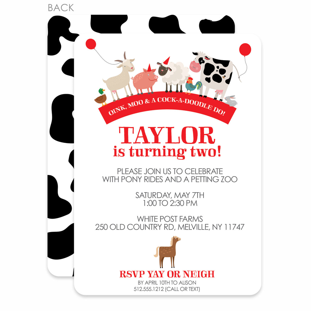 Party Animals Farm Party Birthday Invitation, Red (Printed) – Pipsy